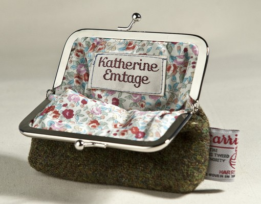 Katherine Emtage Tweed Clasp Purse - Moss Brown