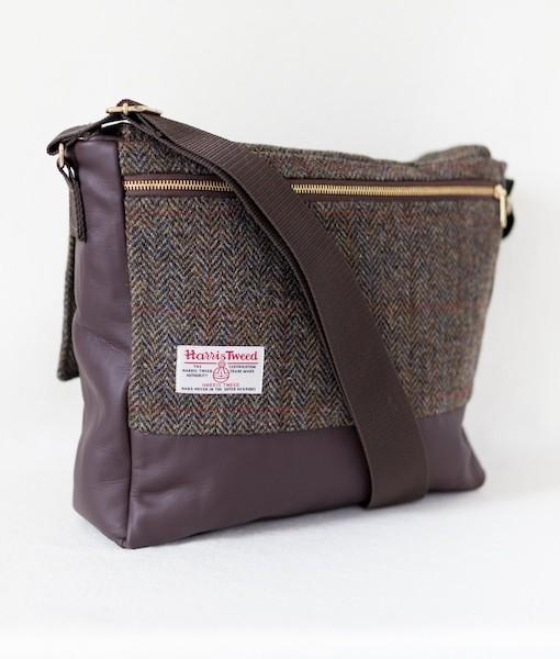 Katherine Emtage Ultimate Man Bag brown Harris TWeed with leather reverse