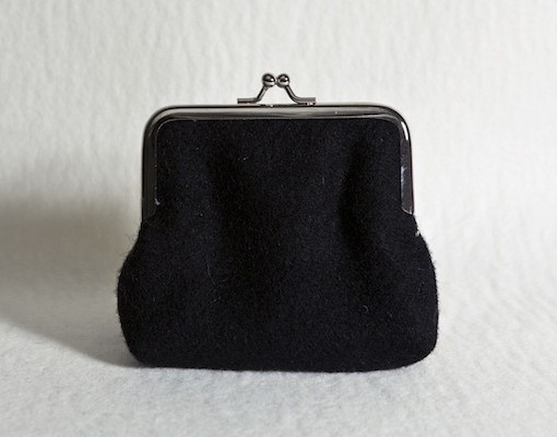 Katherine Emtage Black Clasp Purse Harris Tweed