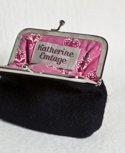 Katherine Emtage Black Clasp Purse Harris Tweed Open