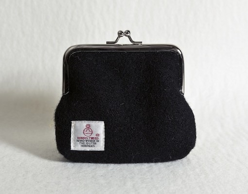 Katherine Emtage Black Clasp Purse Harris Tweed Reverse