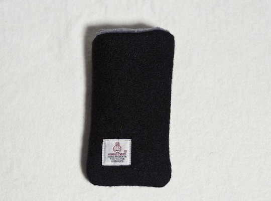 Katherine Emtage Black Harris Tweed Phone Case Reverse