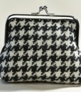 Katherine Emtage Black & White Houndstooth Clasp Purse Borders Tweed