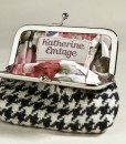 Katherine Emtage Black & White Houndstooth Clasp Purse Borders Tweed Open
