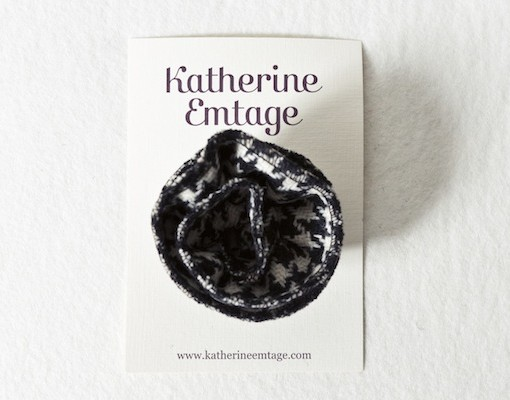 Katherine Emtage Black and White Houndstooth Corsage on Card Borders Tweed 1