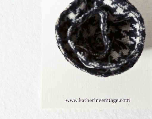 Katherine Emtage Black and White Houndstooth Corsage on Card Borders Tweed 2