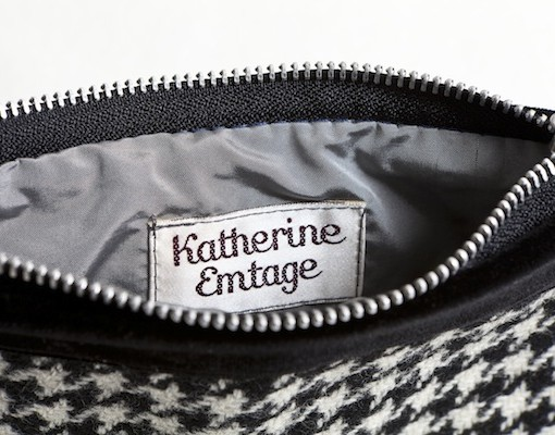 Katherine Emtage Black and White Houndstooth Pochette Borders Tweed Inside Detail