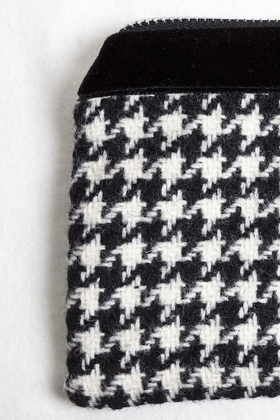 Katherine Emtage Black and White Houndstooth Pochette Detail Borders Tweed