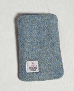 Katherine Emtage Blue Lovat Herringbone Harris tweed Phone Case Reverse