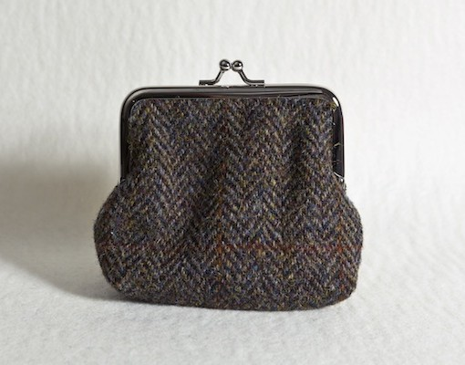 Katherine Emtage Brown Herringbone Check Clasp Purse Harris Tweed