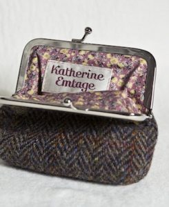 Katherine Emtage Brown Herringbone Check Clasp Purse Harris tweed Open