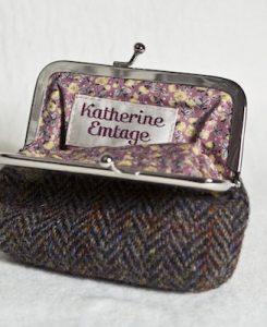 Katherine Emtage Brown Herringbone Check Clasp Purse Harris tweed Open
