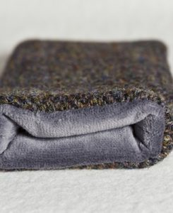 Katherine Emtage Brown Herringbone Check Phone Case Harris Tweed Grey Lining