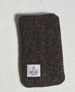 Katherine Emtage Brown Herringbone Check Phone Case Harris Tweed Phone Case Reverse