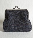 Katherine Emtage Charcoal Herringbone Check Clasp Purse Harris Tweed