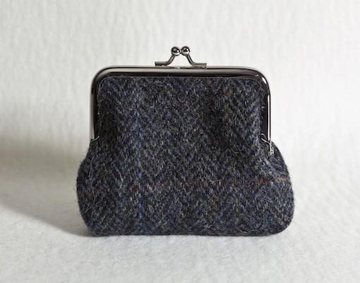 Katherine Emtage Charcoal Herringbone Check Clasp Purse Harris Tweed