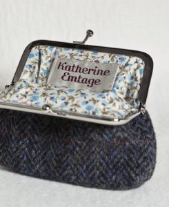 Katherine Emtage Charcoal Herringbone Check Clasp Purse Harris Tweed Open