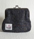 Katherine Emtage Charcoal Herringbone Check Clasp Purse Reverse