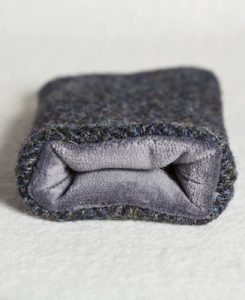Katherine Emtage Charcoal Herringbone Check Phone Case Harris Tweed Grey Lining