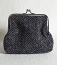 Katherine Emtage Charcoal Herringbone Clasp Purse Harris Tweed
