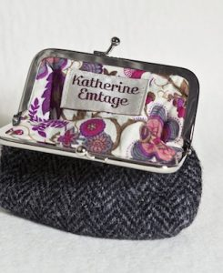 Katherine Emtage Charcoal Herringbone Clasp Purse Harris Tweed Open