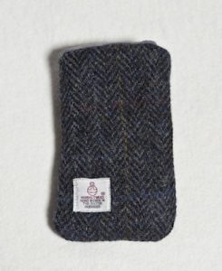 Katherine Emtage Charoal Herringbone Check Harris Tweed Phone Case Reverse