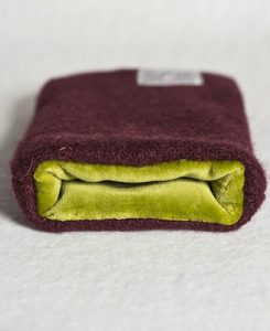 Katherine Emtage Dark Cherry Phone Case Harris Tweed Chartreuse Lining 2