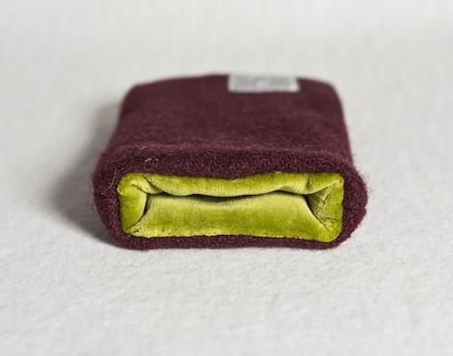 Katherine Emtage Dark Cherry Phone Case Harris Tweed Chartreuse Lining 2