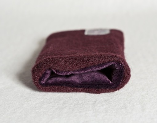 Katherine Emtage Dark Cherry Phone Case Harris Tweed Purple Lining