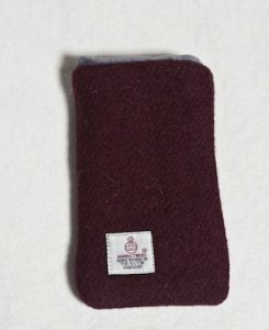 Katherine Emtage Dark Cherry Phone Case Harris Tweed Reverse