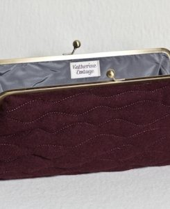 Katherine Emtage Dark Cherry Sargasso Clutch Harris Tweed Open
