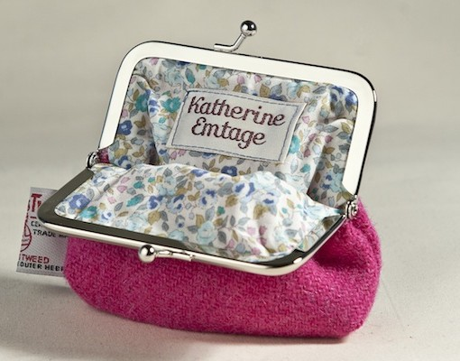 Katherine Emtage Fuschia Clasp Purse Harris Tweed Open