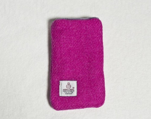 Katherine Emtage Fuschia Phone Case Harris Tweed Reverse