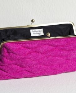 Katherine Emtage Fuschia Sargasso Clutch Harris Tweed Open