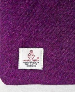 Katherine Emtage Grape Pochette Label Detail Harris Tweed