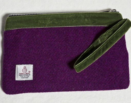 Katherine Emtage Grape Pochette Strap Across Harris Tweed