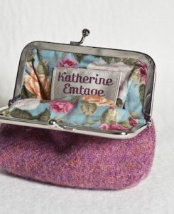 Katherine Emtage Heather Clasp Purse Harris Tweed Open