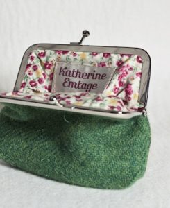 Katherine Emtage Leaf Green Clasp Purse Harris Tweed Open
