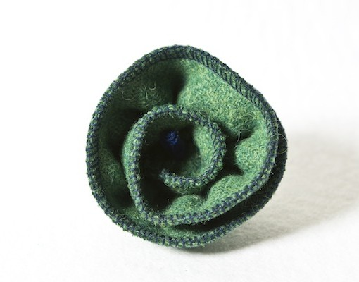 Katherine Emtage Leaf Green Corsage Harris Tweed 2
