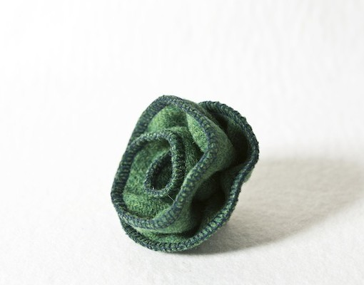 Katherine Emtage Leaf Green Corsage Harris Tweed 4