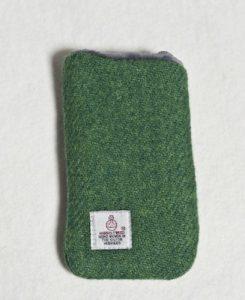 Katherine Emtage Leaf Green Phone Case Harris Tweed Reverse