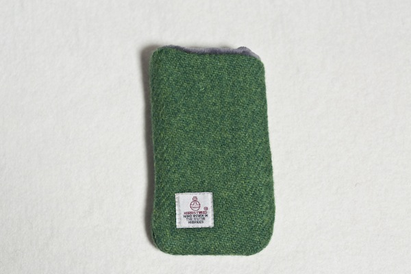 Katherine Emtage Leaf Green Phone Case Harris Tweed Reverse