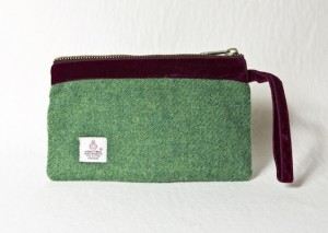 Katherine Emtage Leaf Green Pochette Harris Tweed
