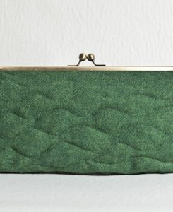 Katherine Emtage Leaf Green Sargasso Clutch Harris Tweed