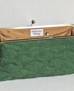 Katherine Emtage Leaf Green Sargasso Clutch Harris Tweed Open