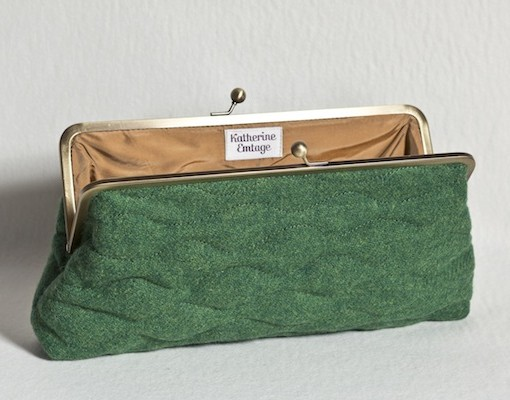 Katherine Emtage Leaf Green Sargasso Clutch Harris Tweed Open
