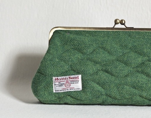Katherine Emtage Leaf Green Sargasso Clutch detail Harris Tweed