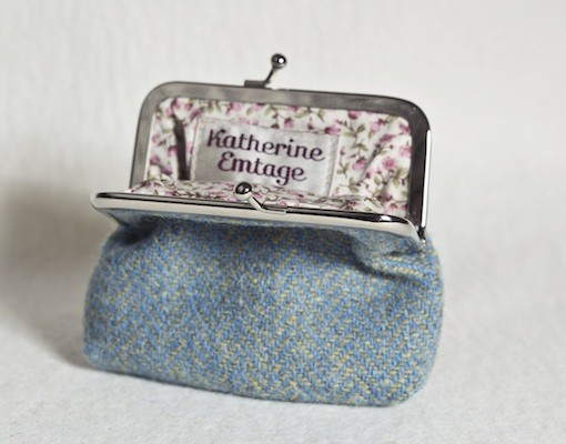 Katherine Emtage Lovat Herringbone Clasp Purse Open