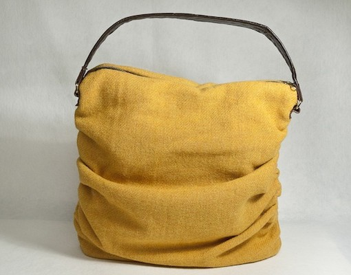 Katherine Emtage Mustard Ruche Slouch Harris Tweed Front