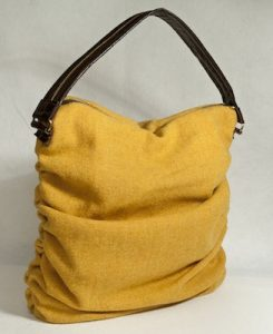 Katherine Emtage Mustard Ruche Slouch Harris Tweed Front Angle